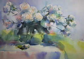 Watercolor painting by NC artist JJ Jiang of glass vase of white roses by green cloth.