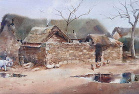 Watercolor painting of Chinese farm by NC Artist JJ Jiang.