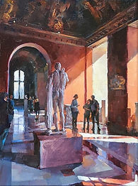Award-winning Oil painting by NC artist JJ Jiang of interior of  Louvre Museum in Paris