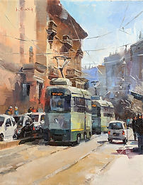 Oil painting by NC artist JJ Jiang of city street in Rome Italy.