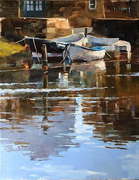 Oil painting by NC artist JJ Jiang of boats on water in Staithes UK.