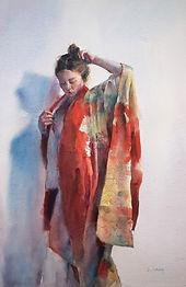Watercolor painting by NC artist JJ Jiang of young girl in red kimono.