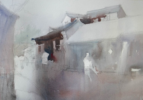 Atmospheric watercolor - Demo stage 1