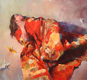 Award-winning Oil painting by NC artist JJ Jiang of young girl in red kimono.