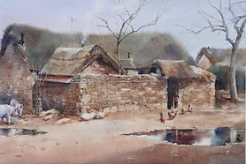 Watercolor painting by NC artist JJ Jiang of rural Chinese farm after the rain.