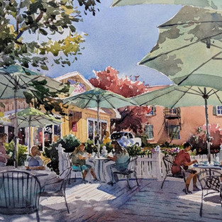 Under the Umbrella, 2nd Place Award & People's Choice Award, 5th En Plein Air Painting the Town Competition, Cary, NC 2018, SOLD