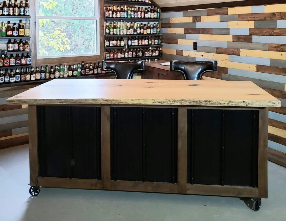 Custom Made Bar on Wheels for Man Cave