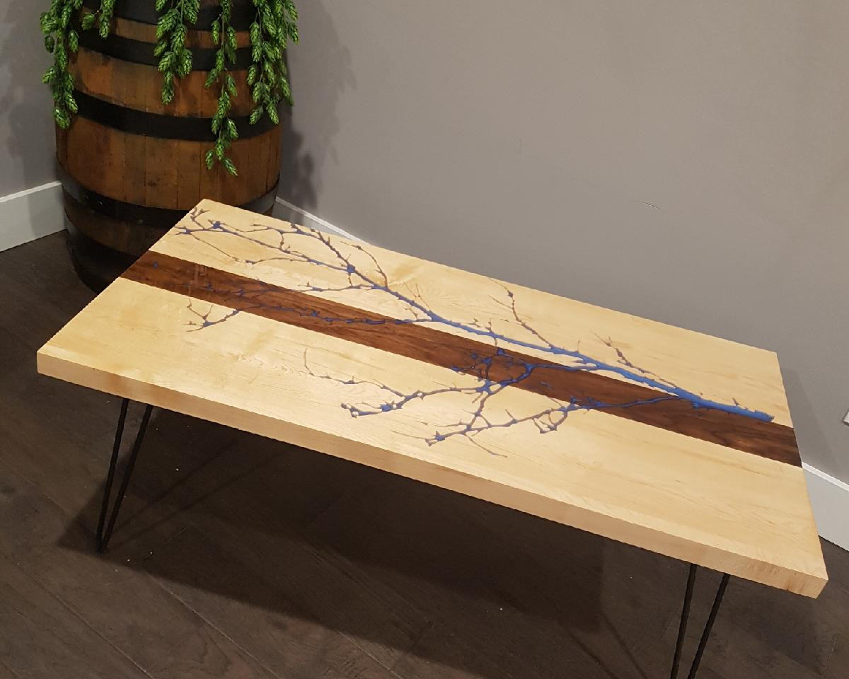 Custom Made Epoxy River Table with Tree
