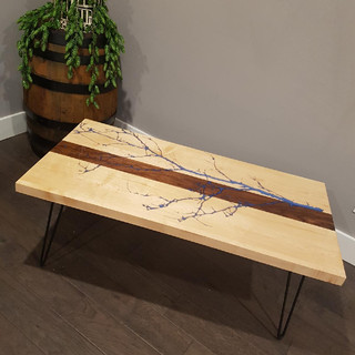 Custom Epoxy River Table with Tree