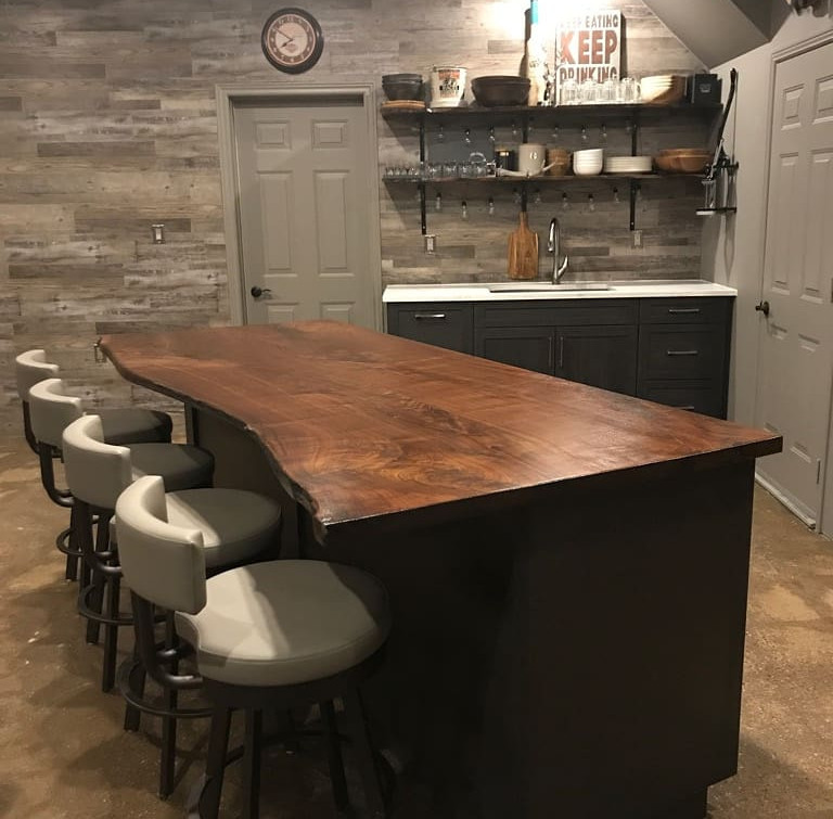 Custom Wooden Island with Chairs for Man Cave