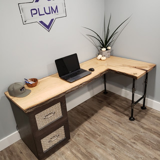 Custom Made Wooden Desk with Metal Drawers
