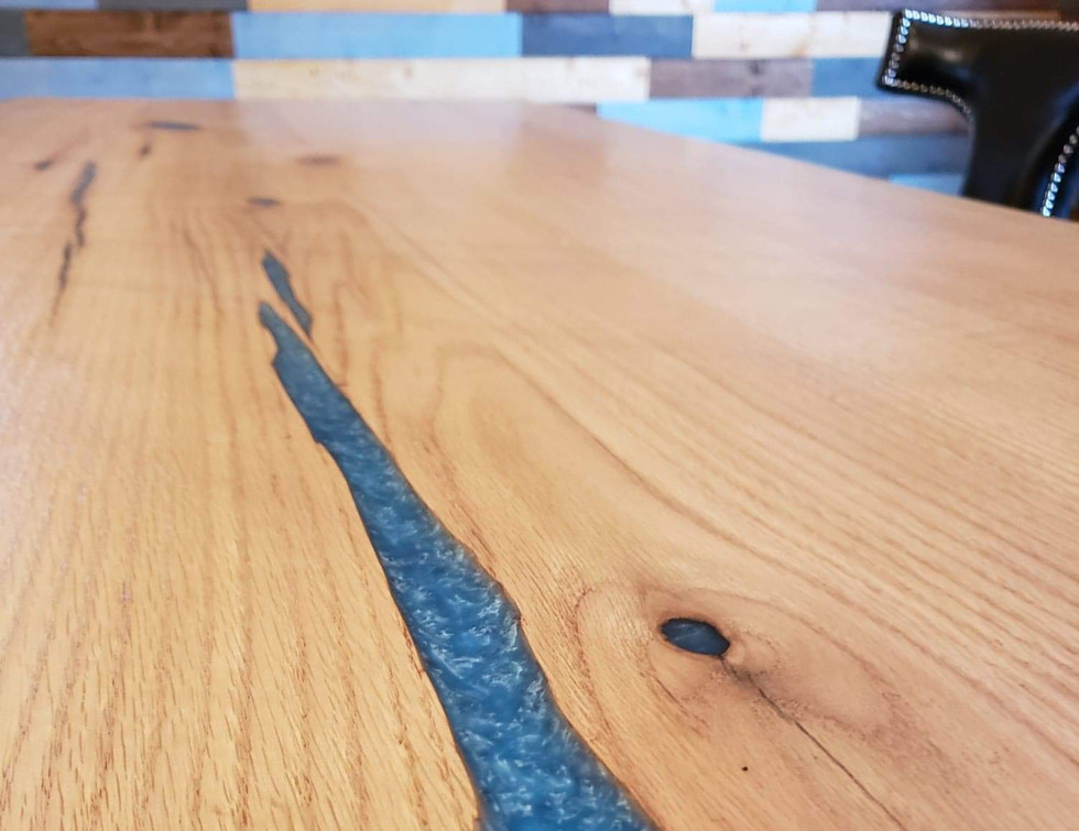 Blue Epoxy Accent on Custom Made Bar on Wheels for Man Cave