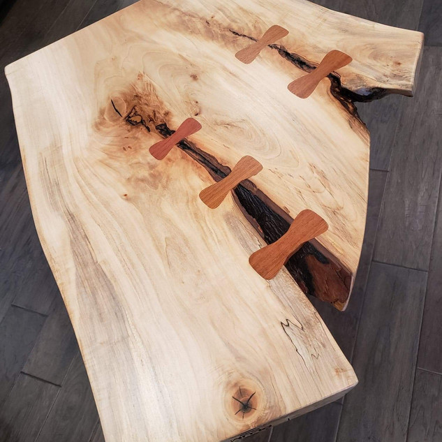 Live Edge Table with Wooden Bowties
