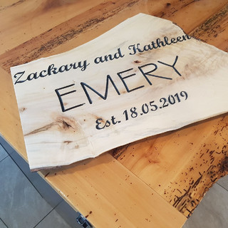 """Emery"" Wooden Family Plaque"
