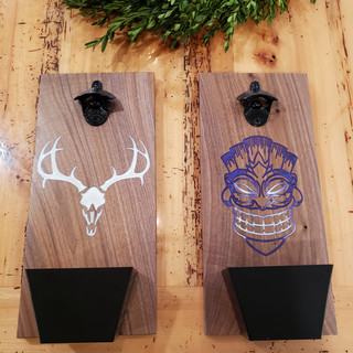 Solid Walnut Bottle Openers with Cap Catcher