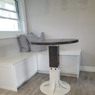 Round Barn Board Dining Room Table with Metal Stand Front View