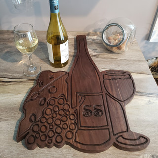 Wooden Wine, Cheese & Grapes Charcuterie Board