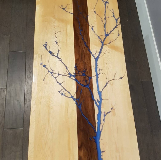 Custom Epoxy River Table with Tree