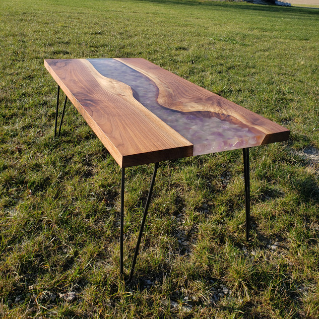 Live Edge Epoxy River Table with Amethyst Stones
