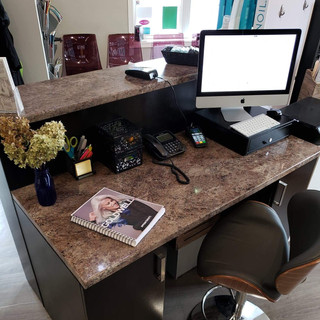 Custom Made Front Desk with Shelving for Shear Images in Belle River