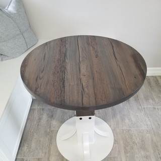 Round Barn Board Dining Room Table with Metal Stand Top View