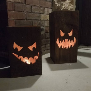Glowing Wooden Pumpkin Boxes