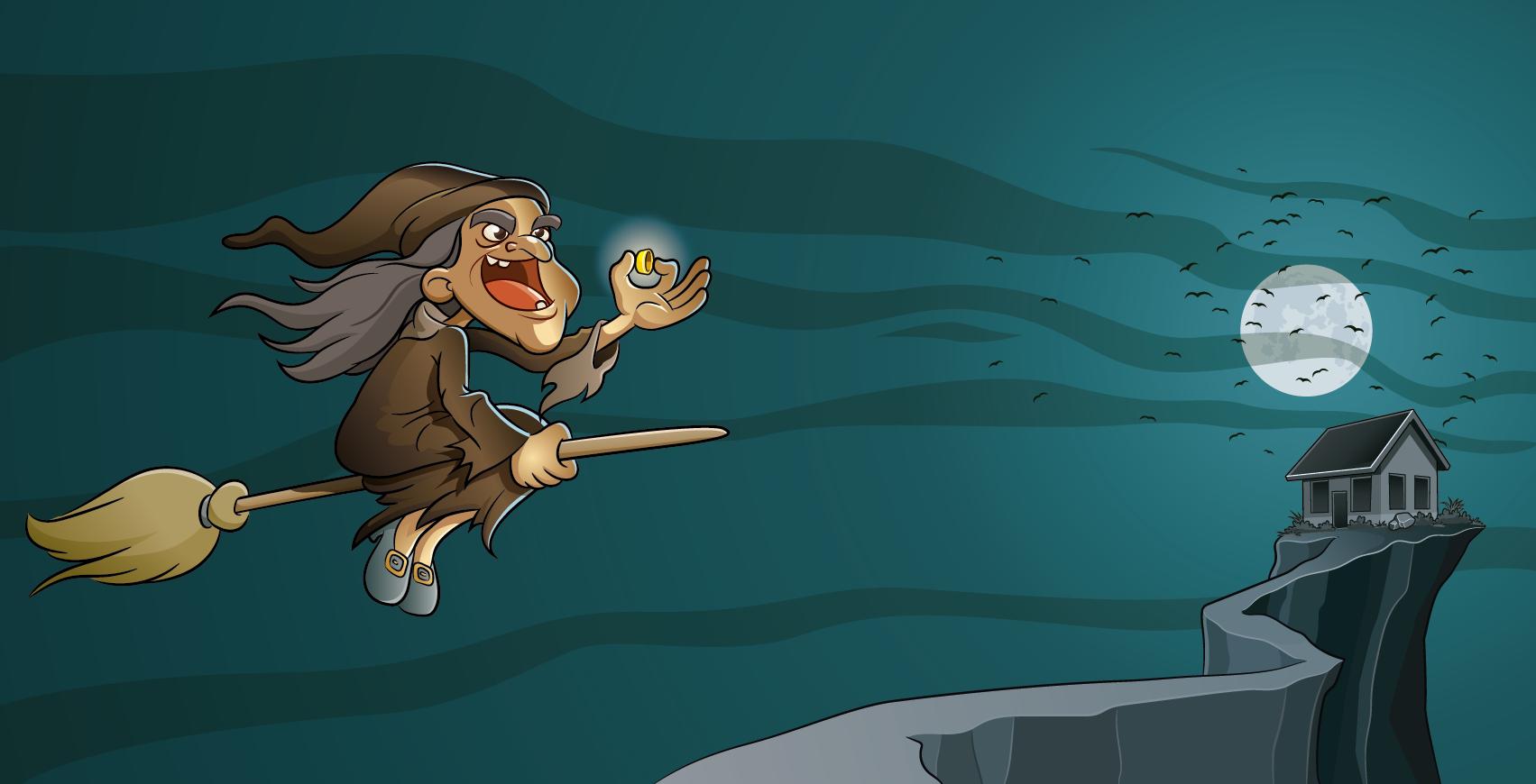 Bruxa e sua vassoura voadora