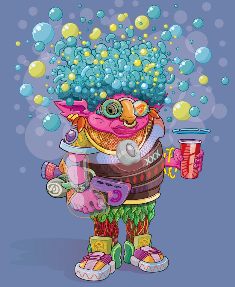 Blob toma bebida doce