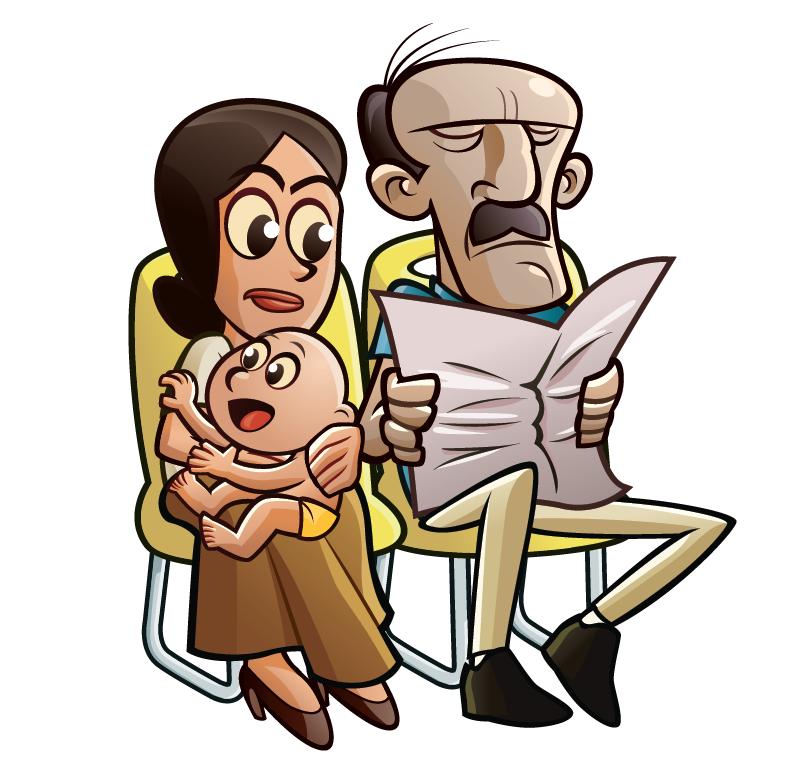 Jornal e neném no busão