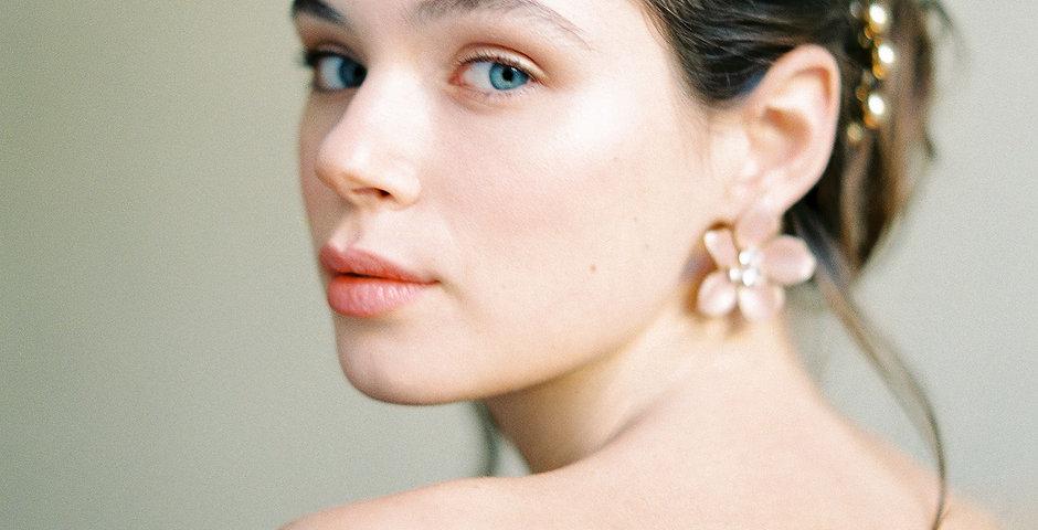 Rosehip Enamel Flower Earrings