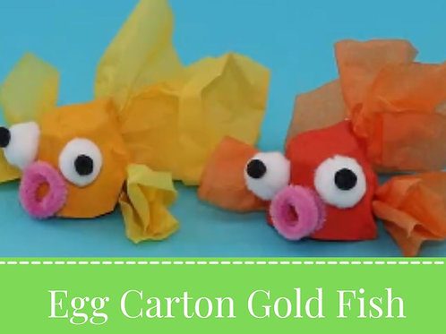 Craft by the Pool: Egg Carton Gold Fish 07.14.21