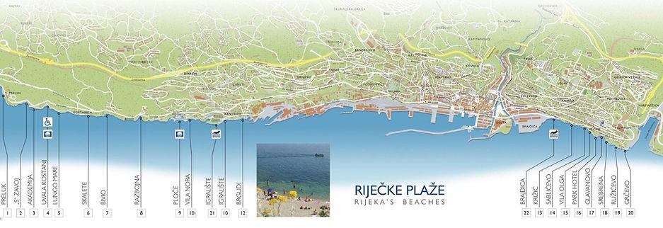 Terra Apartments Rijeka - map with locations of Rijeka beaches