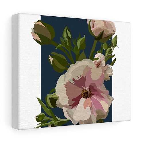 Pink Ranunculus on Navy, Gallery Wrapped Canvas