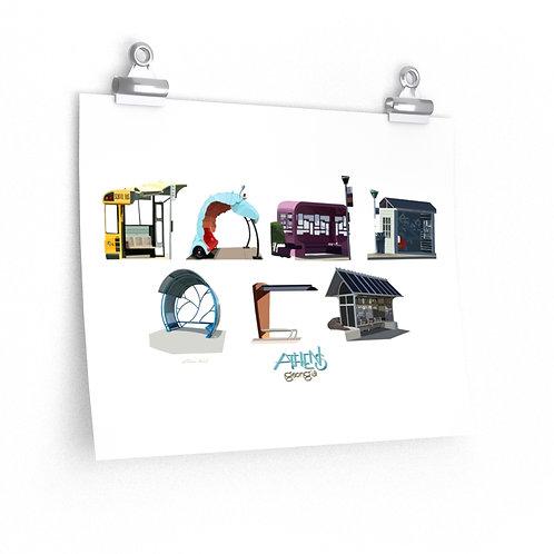 Athens Bus Shelters, Premium Matte Poster