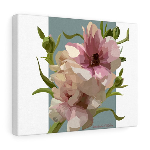 Pink Ranunculus on Blue, Canvas Gallery Wrap