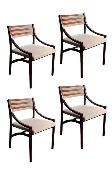 ICO PARISI FOR CASSINA  MODEL 110, SET OF 4 CHAIRS