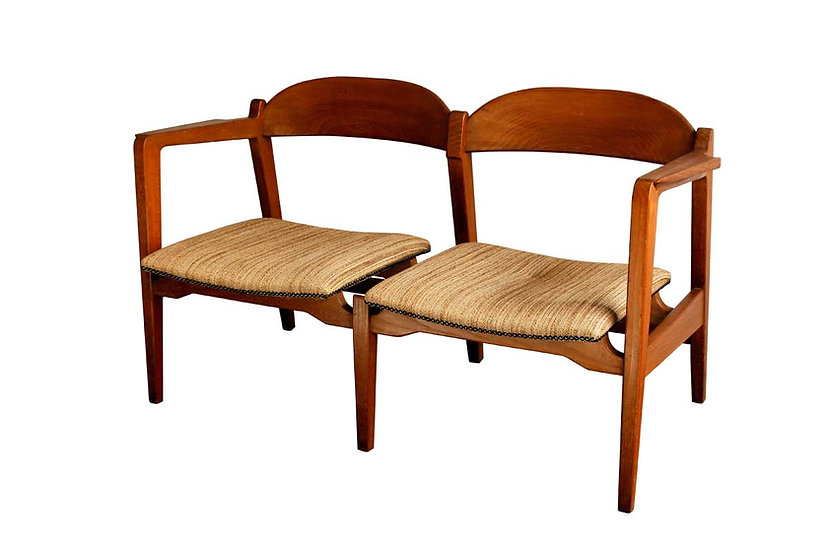 SCANDINAVIAN 2 SEATS SOFA IN IROKO WOOD 1960