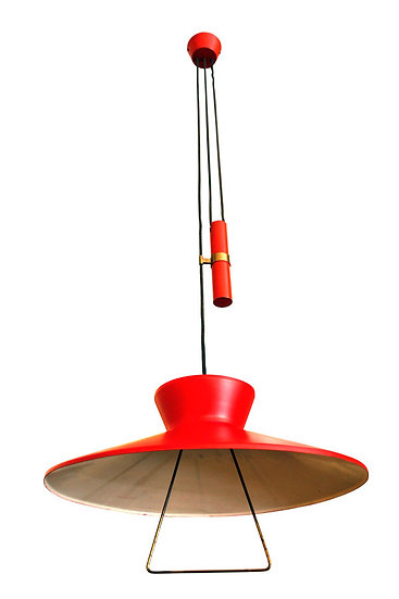 1950 RED AND WHITE COUNTERBALANCE CHANDELIER