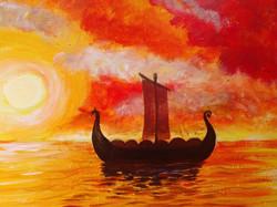 Viking Ship at Sunset