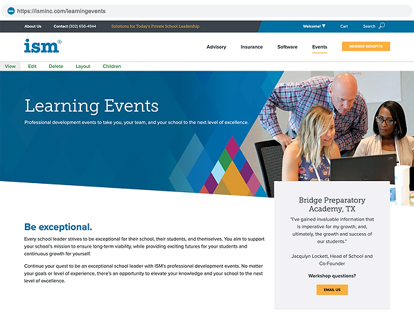 ISM landing page mock up-learning events