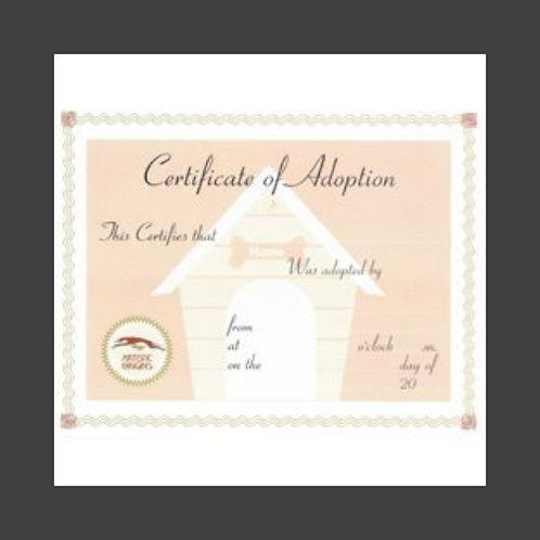 Puppy Adoption Certificate