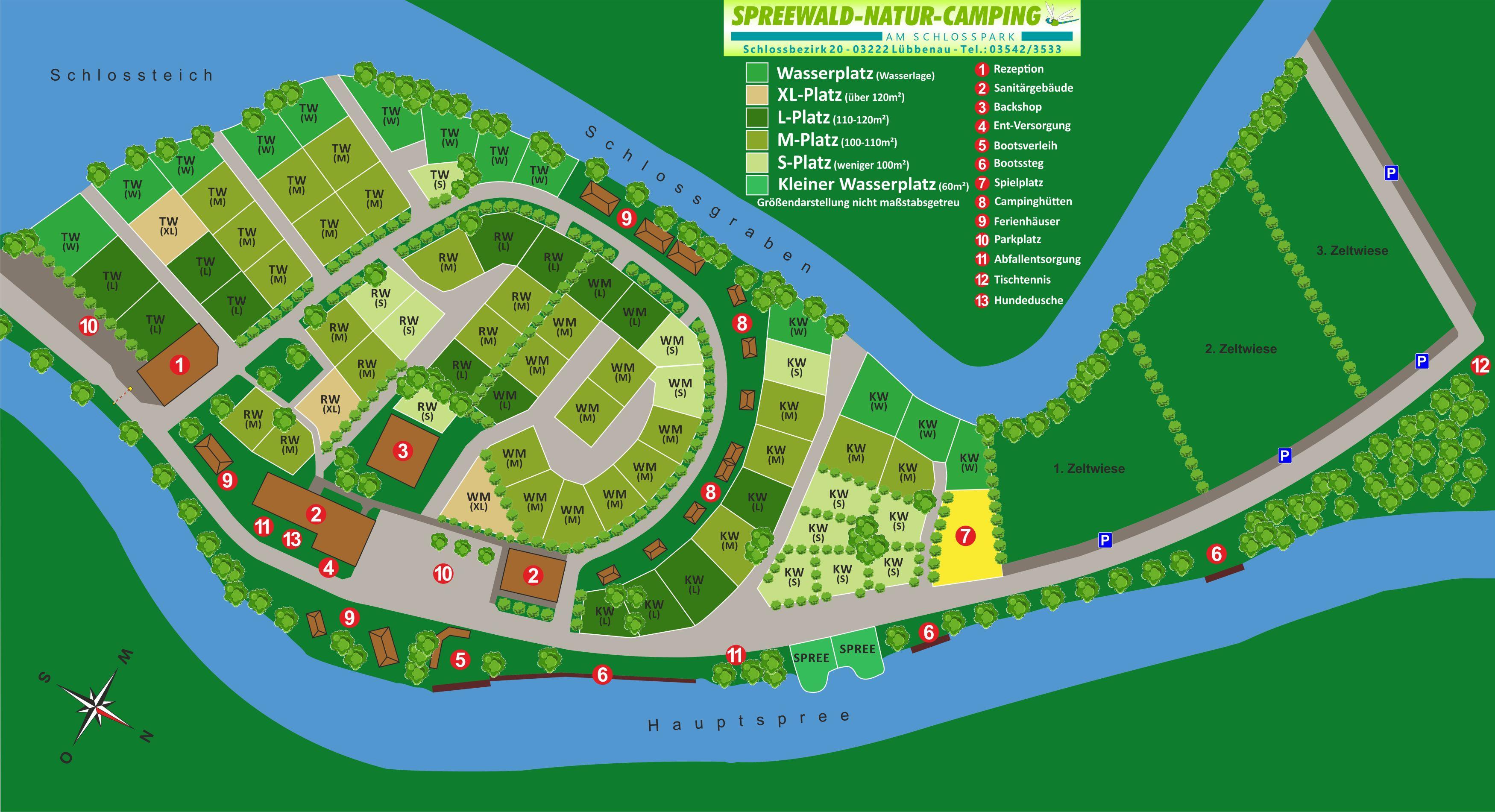 Parzellenplan mit Zeltwiesenn