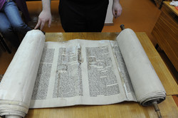 Photo 161 - Lenin Scientific Library - R. Koves Examines Torah # 78 - very damag