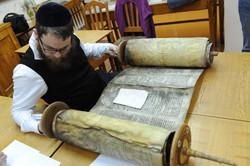 Photo 91 - Lenin Scientific Library - R. Koves Examining Fire Damaged Torah - Li