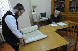 Photo 214 - Lenin Scientific Library - R. Koves Examines Torah and Sessler Makes