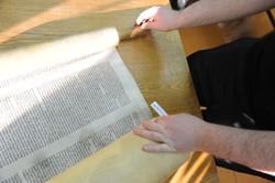 Photo 203 - Lenin Scientific Library - R. Koves Examines Library Torah Catalogue