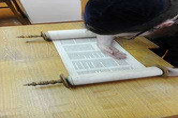 Photo 144 - Lenin Scientific Library - R. Koves Checking Parchment of Torah Libr