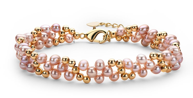 14K Gold Filled Multi-Layered Bracelet Pearl Twisted Fashion Bracelet  For Women