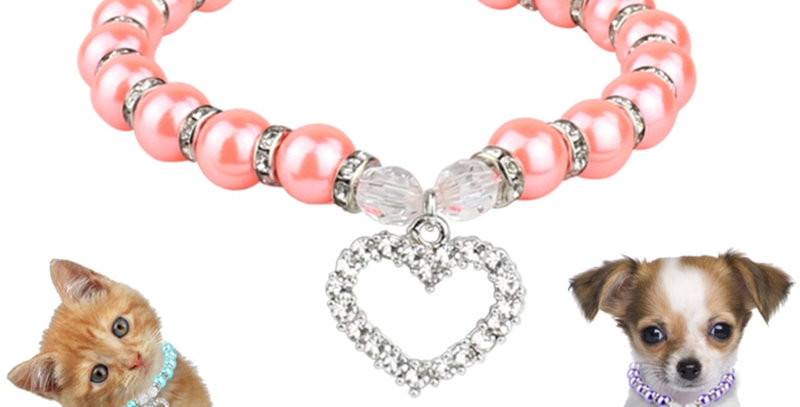 Rhinestone Pet Collar for Puppy Dog Cat Pearl Necklace  Pets Dogs Cats Collar