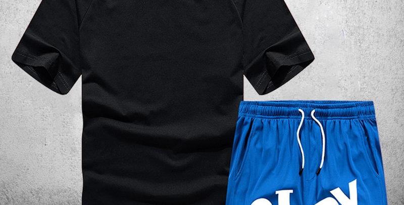 Men Tracksuit Sets Summer T Shirt Shorts 2 Piece Set for Running